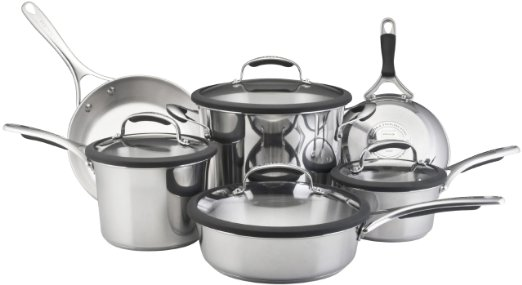 KitchenAid Gourmet Essentials 10-Piece Brushed Stainless Steel Cookware Reviews